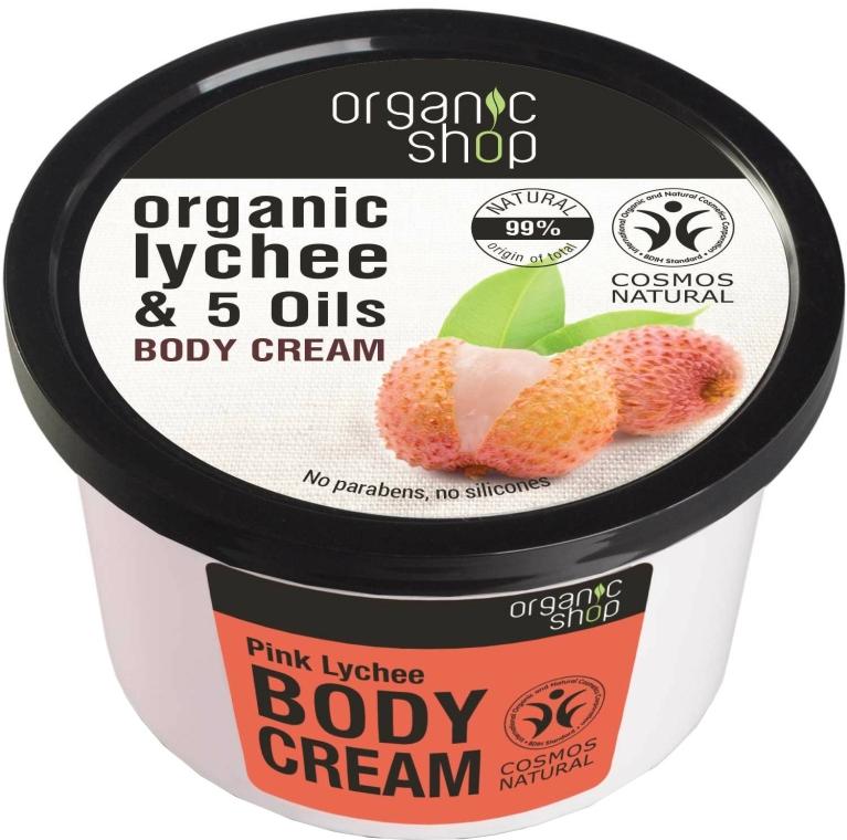 """Rózsaszín lychee"" testkrém - Organic Shop Body Cream Organic Lichee & Oils"