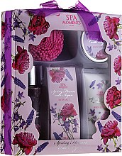 "Parfüm, Parfüméria, kozmetikum Szett ""Levendula"" - Spa Moments Spring Flowers With Argan (sh/gel/100ml + b/lot/60ml + b/oil/50 + salt/50g)"