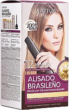 Parfüm, Parfüméria, kozmetikum Keratin hajegyenesítő készlet, szőke hajra - Kativa Alisado Brasileno Straighten Blonde (shm/15ml + mask/150ml + shm/30ml + cond/30ml)