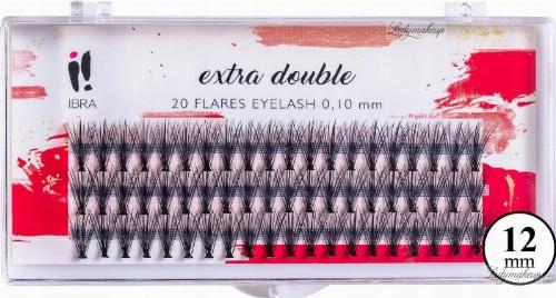 Tincses műszempilla, C 0,1 mm, 12 mm - Ibra Extra Double 20 Flares Eyelash C 12 mm
