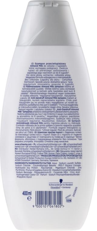 "Korpásodás elleni sampon ""Mandula tej"" - Schwarzkopf Schauma Anti-Dandruff x3 Almond Milk — fotó N2"