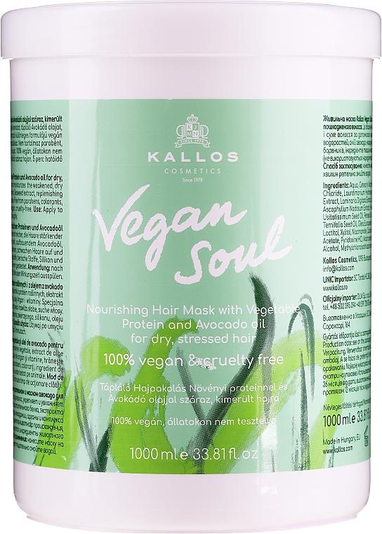 Tápláló hajmaszk növényi proteinnel és avokádó olajjal - Kallos Cosmetics KJMN Vegan Soul Nourishing Hair Mask