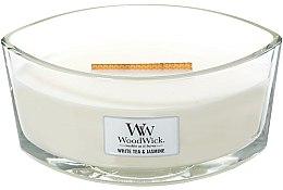 Parfüm, Parfüméria, kozmetikum Illatgyertya pohárban - WoodWick Hearthwick Flame Ellipse Candle White Tea & Jasmine