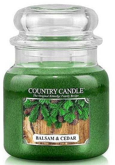 Illatosított gyertya pohárban - Country Candle Balsam & Cedar — fotó N1