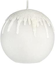"Parfüm, Parfüméria, kozmetikum Dekoratív gyertya ""Szürke jégcsapok"", gömb, 10 cm - Artman Christmas"
