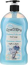 """Parfüm, Parfüméria, kozmetikum Gyerek kéztisztító szappan """"Áfonya és aloe vera"""" - Bluxcosmetics Naturaphy Blueberry & Aloe Vera Hand Soap"""