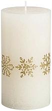 Parfüm, Parfüméria, kozmetikum Henger alakú gyertya, krémszín, 130/68 mm - Bolsius Gold Snowflakes Candle