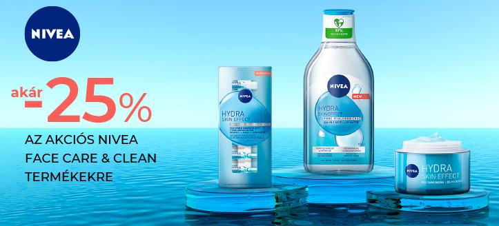 Akár 25% kedvezmény az akciós Nivea Face Care & Clean termékekre. A feltüntetett ár a kedvezményt is tartalmazza