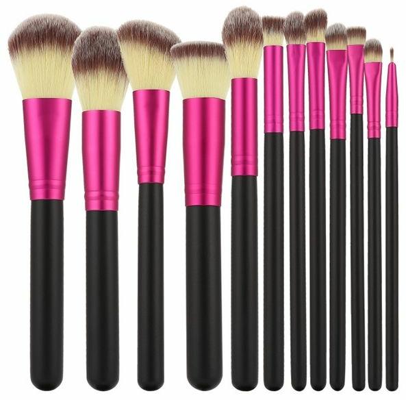 Professzionális sminkecset szett 12 db, rózsaszín feketével - Tools For Beauty
