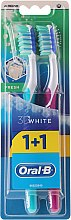 Parfüm, Parfüméria, kozmetikum Fogkefe szett, félkemény 40, türkiz és rózsaszín - Oral-B 3D White Fresh 40 Medium 1+1