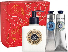 Parfüm, Parfüméria, kozmetikum Készlet - L'Occitane Shea Butter Christmas Set (h/cr/75ml + h/scr/75ml + mousse/300ml + box)