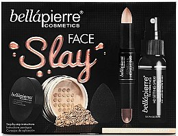 Parfüm, Parfüméria, kozmetikum Szett - Bellapierre Face Slay Kit Dark/Deep (stick/8.6g+powder/6.5g+spray/70ml+sponge/1pcs)