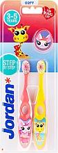 Parfüm, Parfüméria, kozmetikum Gyerek fogkefe, 3-5 éves korig, rózsaszín+sárga, zsiráffal - Jordan Step By Step Soft Clean