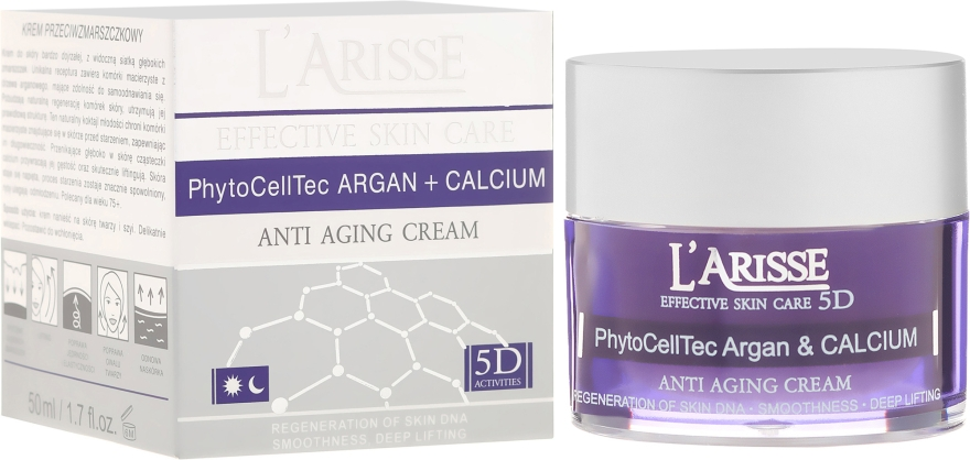 Ránctalanító krém argán őssejtekkel ls BIO kálciummal 75+ - Ava Laboratorium L'Arisse 5D Anti-Wrinkle Cream Stem PhytoCellTech Argan + Calcium