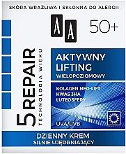"""Parfüm, Parfüméria, kozmetikum Hidratáló nappali arckrém """"Aktív lifting"""" 50+ - AA Age Technology 5 Repair Day Cream 50+"""