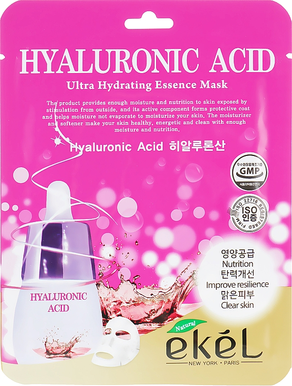 Szövetmaszk hialuronsavval - Ekel Hyaluronic Acid Ultra Hydrating Essence Mask