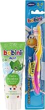Parfüm, Parfüméria, kozmetikum Készlet sárga-rózsaszín fogkefével - Bobini (toothbrush + toothpaste/75ml)