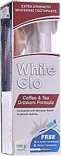 """Parfüm, Parfüméria, kozmetikum Készlet """"A tea és kávé szerelmeseinek"""" , fehér-narancssárga kefe - White Glo Coffee & Tea Drinkers Formula Whitening Toothpaste (toothpaste/100ml + toothbrush)"""
