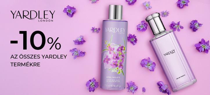 -10% kedvezmény az összes Yardley termékre. A feltüntetett ár a kedvezményt is tartalmazza