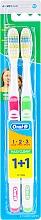 Parfüm, Parfüméria, kozmetikum Fogkefe szett (közepes, rózsaszín+zöld) - Oral-B 1 2 3 Maxi Clean 40 Medium 1+1