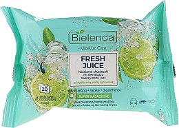 Parfüm, Parfüméria, kozmetikum Micellás sminkeltávolító kendők aktív citrus vízzel - Bielenda Fresh Juice Micelar Make-up Removing Wipes