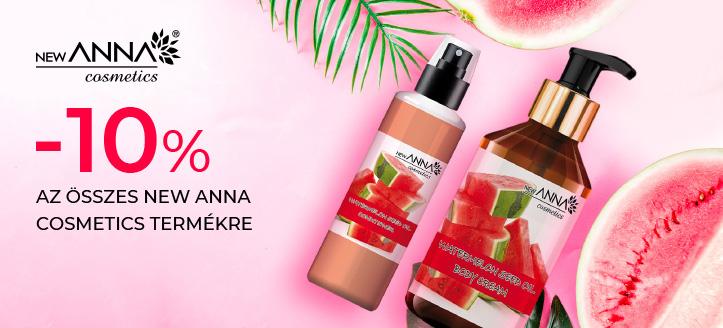 -10% kedvezmény az összes New Anna Cosmetics termékre. Az oldalon feltüntetett árak tartalmazzák a kedvezményt