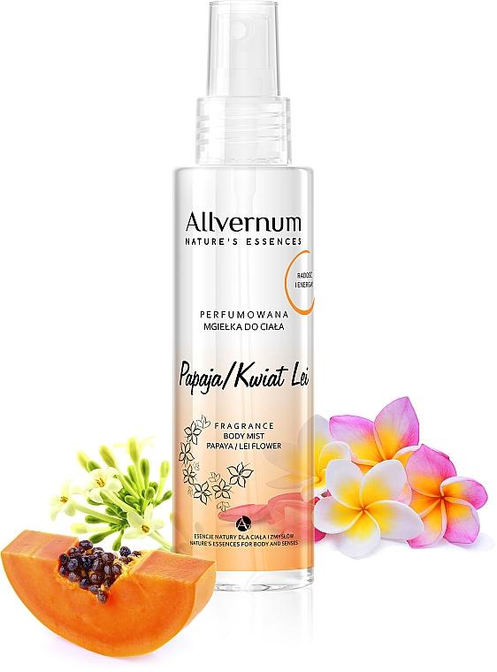 "Parfümös testpermet ""Papaya és frangipani"" - Allverne Nature's Essences Body Mist"