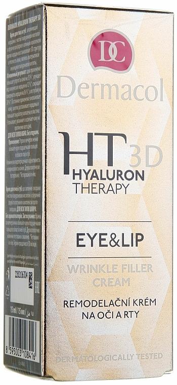 Bőrmegújító szemkörnyék- és ajakápoló krém - Dermacol Hyaluron Therapy 3D Eye and Lip Wrinkle Filler Cream