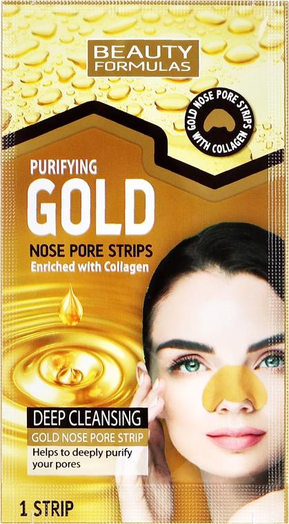 Lehúzható mitesszereltávolító maszk orra - Beauty Formulas Purifying Gold Nose Pore Strips — fotó N2