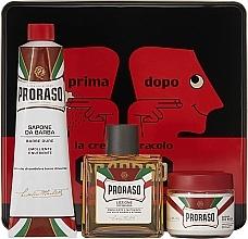 "Parfüm, Parfüméria, kozmetikum Készlet - Proraso Classic Shaving Metal Red ""Primadopo"" (pre/cr/100ml + sh/cr/150ml + ash/cr/100ml)"