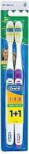 Parfüm, Parfüméria, kozmetikum Fogkefe készlet (közepes, kék+lila) - Oral-B 1 2 3 Maxi Clean 40 Medium 1+1