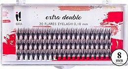 Parfüm, Parfüméria, kozmetikum Tincses műszempilla, C 0,1 mm, 8 mm - Ibra Extra Double 20 Flares Eyelash C 8 mm