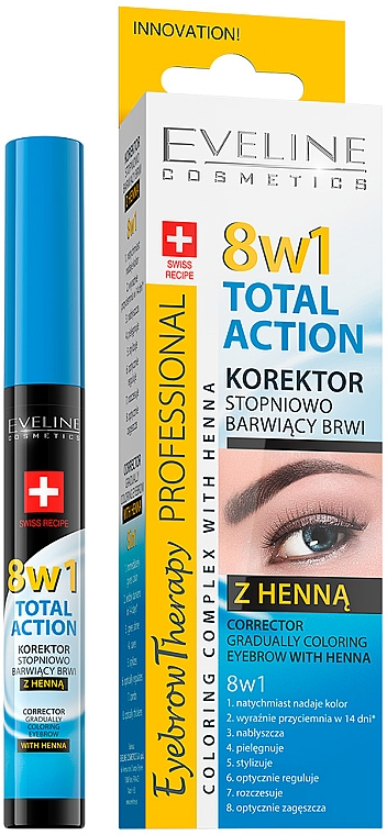 Szemöldök korrektor - Eveline Cosmetics Eyebrow Therapy 8in1 Total Action ECorrector Gradually Coloring Eyebrow With Henna