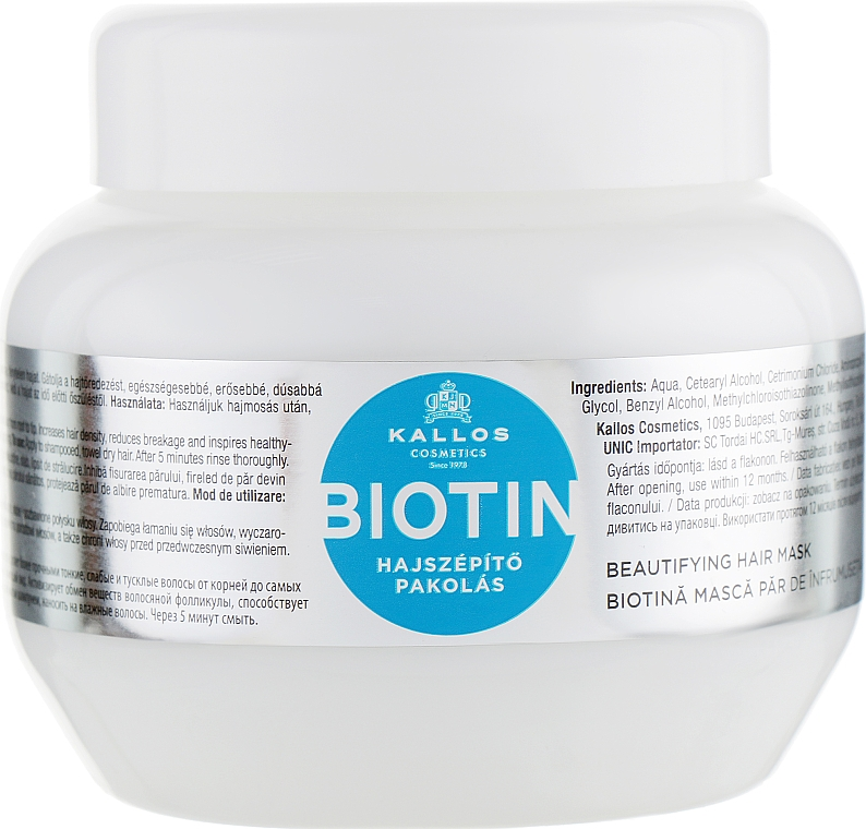 Biotin hajszépítő pakolás - Kallos Cosmetics Biotin Beautifying Mask