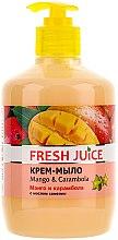 "Parfüm, Parfüméria, kozmetikum Krémszappan ""Mango és carambola"" pumpás adagolóval - Fresh Juice Mango & Carambol"