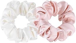 "Parfüm, Parfüméria, kozmetikum Hajgumi készlet természetes selyemből ""Midi"" - Makeup Scrunchie Set Milk Powder"