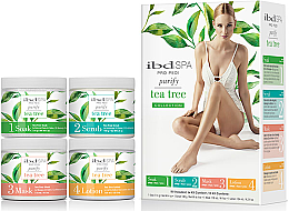Parfüm, Parfüméria, kozmetikum Szett teafa kivonattal - IBD Spa Pro Pedi Tea Tree Purify Spa Intro Kit (soak/180g + scr/180g + mask/120ml + lot/124ml)