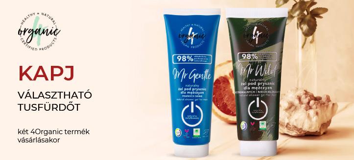 Két 4Organic termék vásárlásakor kapj választható tusfürdőt