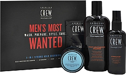 Parfüm, Parfüméria, kozmetikum Szett - American Crew Men's Most Wanted Strong Hold (shm/250ml + cr/50g + spray/100ml + balm/7.4ml)