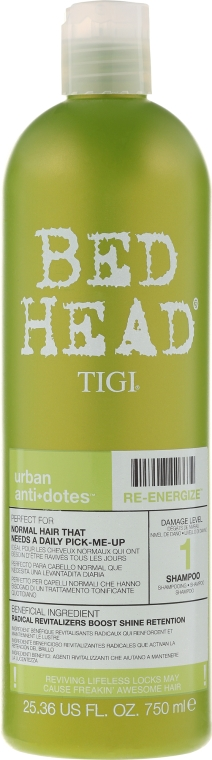 Sampon normál hajra - Tigi Bed Head Urban Antidotes Re-energize Shampoo — fotó N3