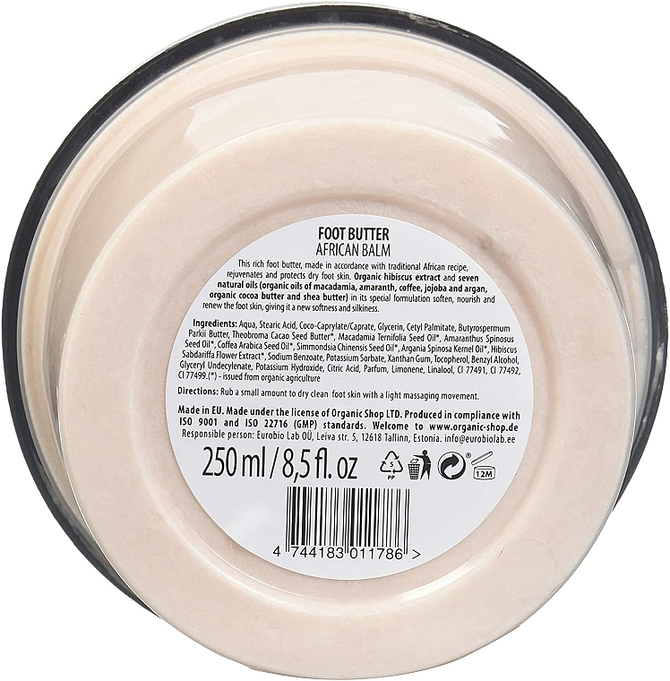 "Lábvaj ""Afrikai balzsam"" - Organic Shop Organic Hibiscus & 7 Oils Foot Butter — fotó N3"