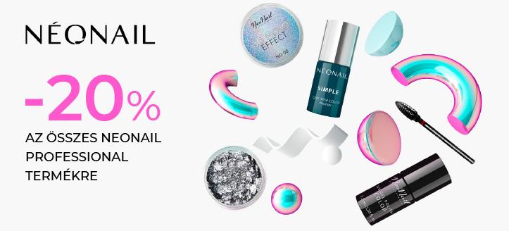-20% kedvezmény az összes NeoNail Professional termékre. A feltüntetett ár a kedvezményt is tartalmazza