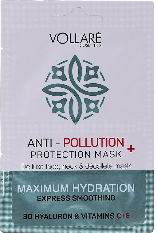 """Arcmaszk """"Hidratáló hialuronsav + C- és E-vitamin"""" - Vollare Anti-Pollution Protection Mask"""