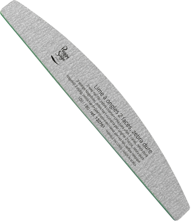 Kétoldalas körömreszelő 100/180, zebra - Peggy Sage 2-way Washable Half-Moon Nail File