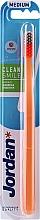 Parfüm, Parfüméria, kozmetikum Fogkefe, közepesen lágy, narancssárga szürke - Jordan Clean Smile Medium