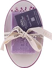 """Parfüm, Parfüméria, kozmetikum Természetes szappan kerámia szappantartóval """"Levendula"""" - Le Chatelard 1802 Lavender Soap"""