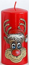 "Parfüm, Parfüméria, kozmetikum Dekoratív gyertya ""Rudolf"", piros, 7x10 cm - Artman Christmas Candle Rudolf"