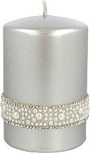 Parfüm, Parfüméria, kozmetikum Díszgyertya, ezüst, 7x10 cm - Artman Crystal Opal Pearl