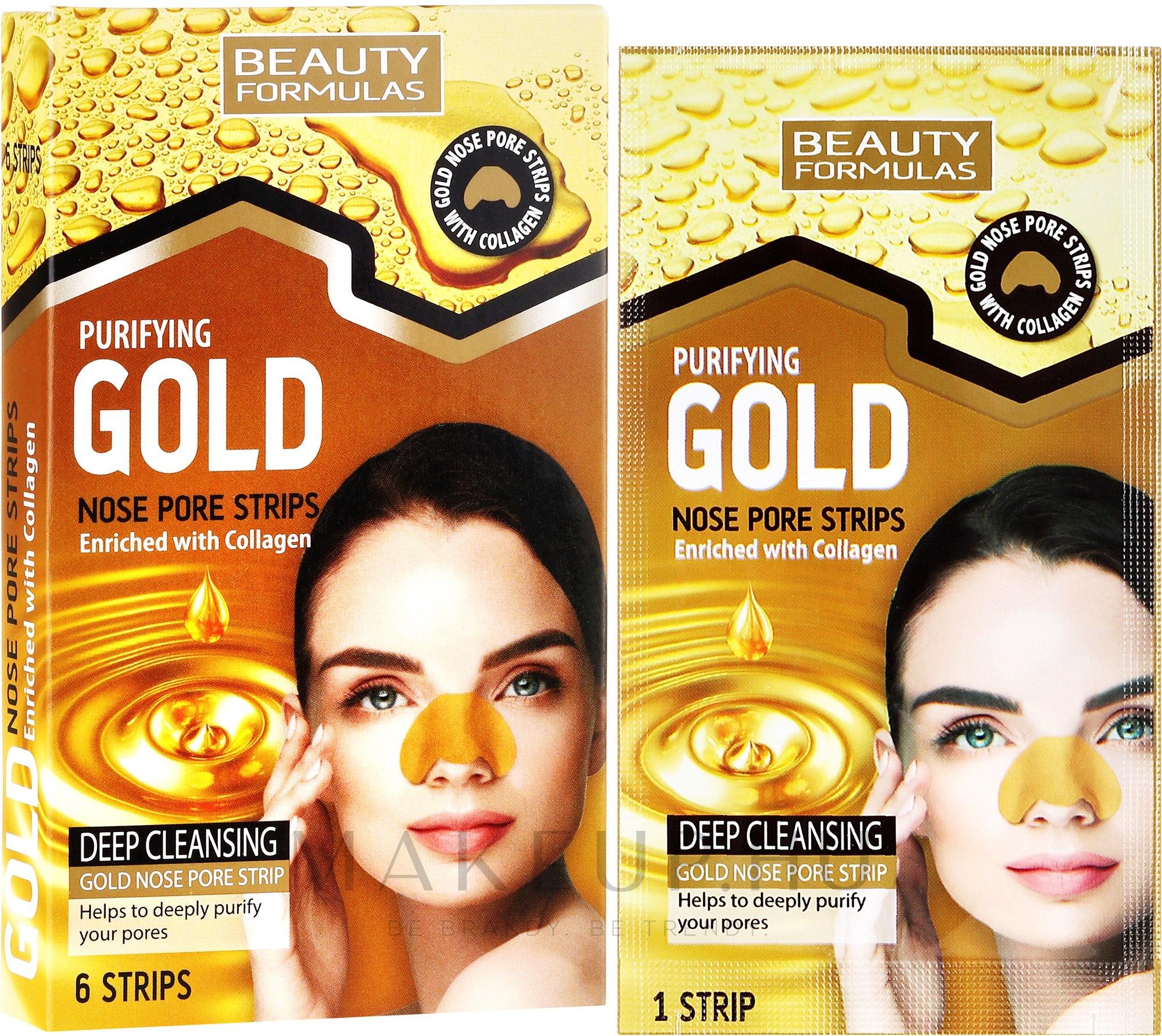 Lehúzható mitesszereltávolító maszk orra - Beauty Formulas Purifying Gold Nose Pore Strips — fotó 6 db.
