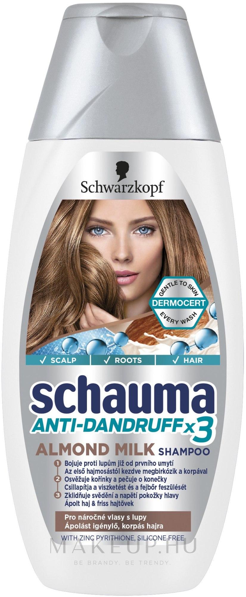 "Korpásodás elleni sampon ""Mandula tej"" - Schwarzkopf Schauma Anti-Dandruff x3 Almond Milk — fotó 400 ml"